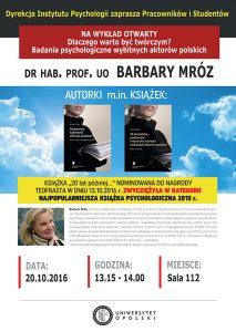 Dlaczego warto być twórczym - dr hab. Barbara Mróz prof. UO